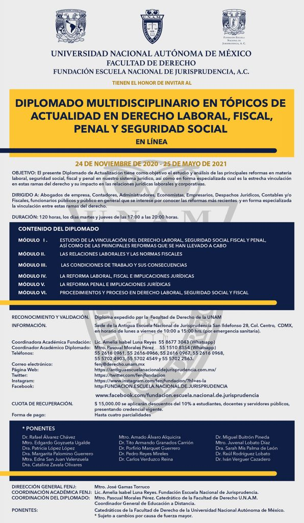 Diplomado en Línea Multidisciplinario en Tópicos de Actualidad en Derecho Laboral, Fiscal, Penal y Seguridad Social